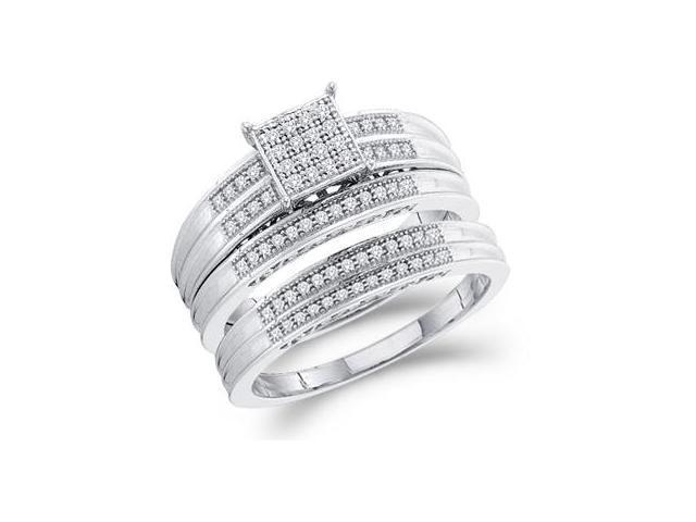 Diamond Engagement Rings Set & Wedding Bands 10k White Gold (1/4 CT)