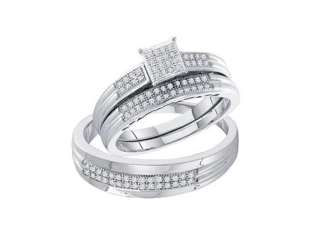 Diamond Engagement Rings Set Wedding 10k White Gold Men Lady (1/4 ct)