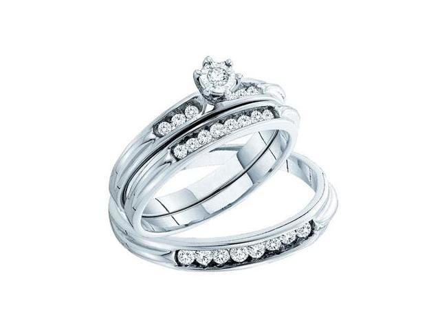 Diamond Engagement Ring & Wedding Bands Set 14k White Gold (.40 Carat)