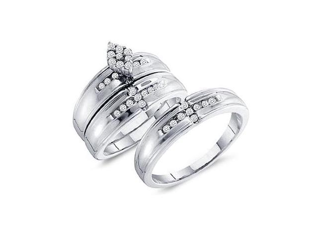Men + Ladies Diamond Rings Set Wedding Engagement 14k White Gold .36ct
