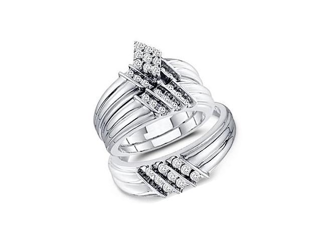Diamond Engagement Rings Set Wedding Bands 14k White Gold (0.74 Carat)
