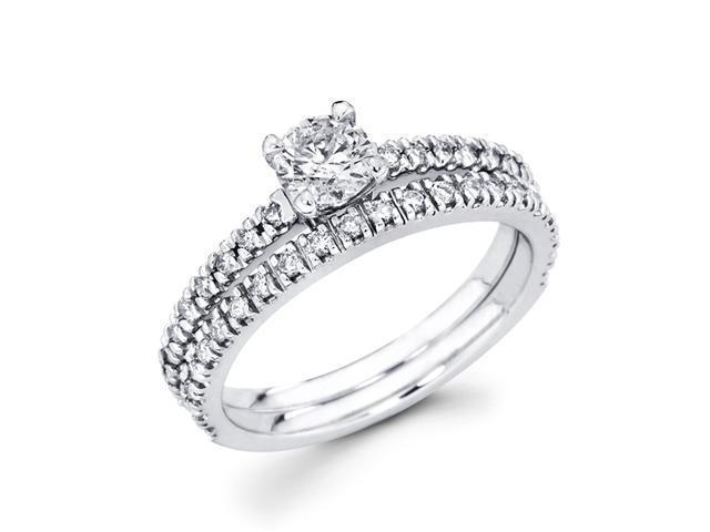 Diamond Engagement Rings Set 14k White Gold Wedding Band (7/8 Carat)