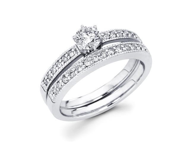 Engagement Diamond Rings Set Wedding Band 14k White Gold (2/3 Carat)