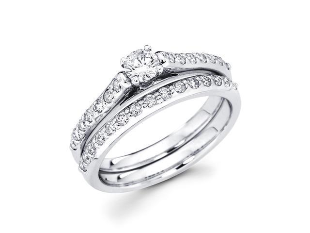 Diamond Engagement Rings Set Wedding Band 14k White Gold (7/8 Carat)