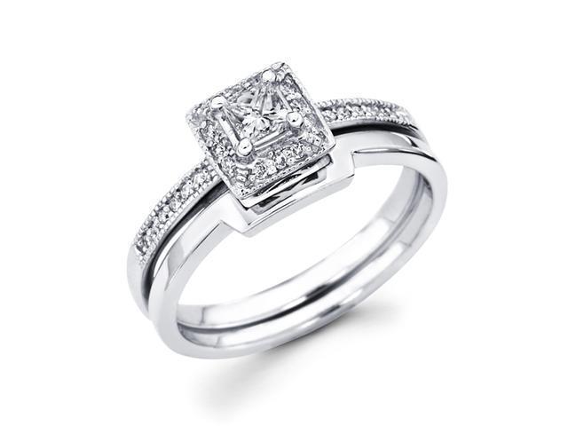 Princess Diamond Engagement Rings Set 14k White Gold Band (1/3 Carat)