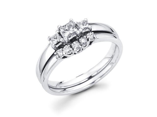 Diamond Engagement Bridal Rings Set Wedding Band 14k White Gold .45 CT