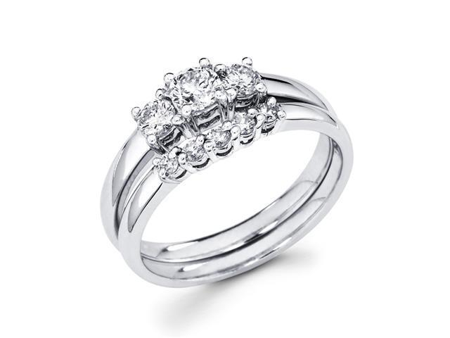 Bridal Diamond Engagement Rings Set and Band 14k White Gold (2/3 CTW)