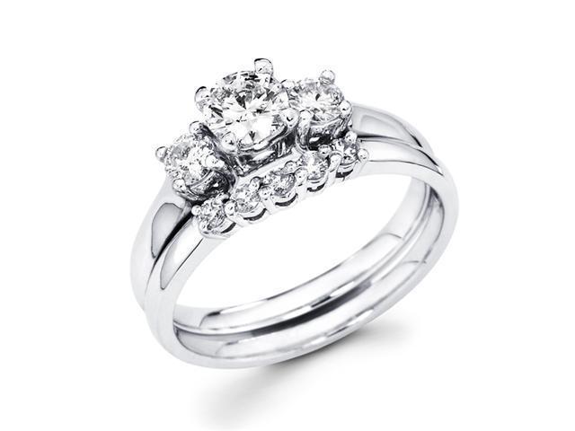 Diamond Engagement Rings Bridal Set Wedding Band 14k White Gold 7/8 CT