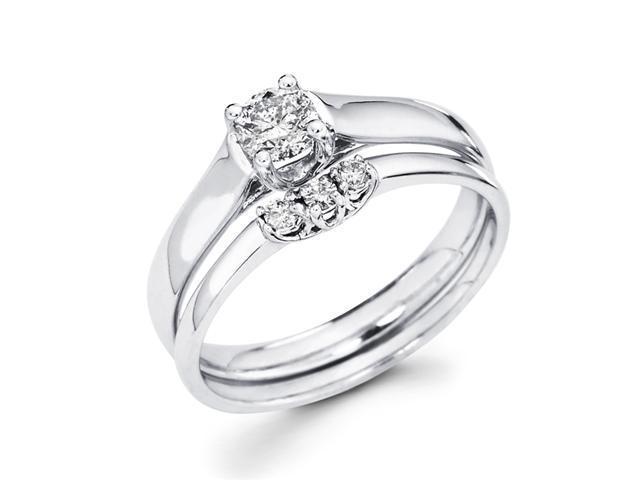 Bridal Diamond Engagement Rings Set Wedding Band 14k White Gold .40 CT