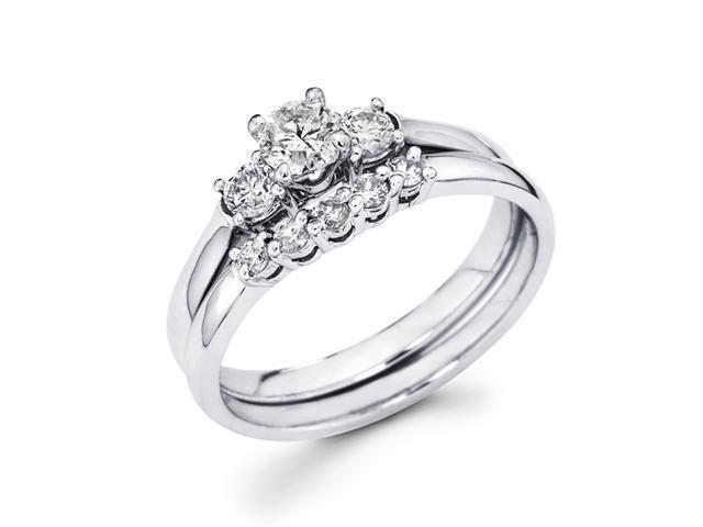 Diamond Engagement Rings Set Wedding Band 14k White Gold (3/4 Carat)