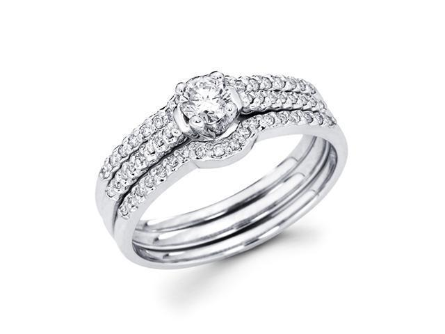 Diamond Engagement Rings Set Wedding Bands 14k White Gold (0.40 Carat)