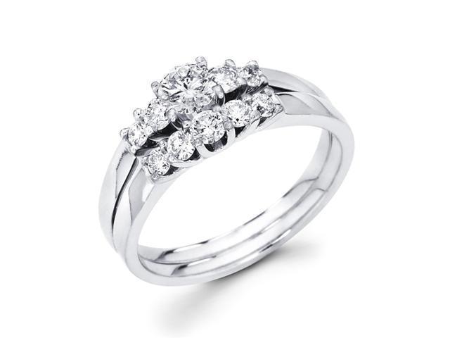 Bridal Diamond Engagement Rings Set 14k White Gold Wedding Band 1/2 CT