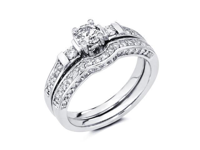 Diamond Engagement Rings Set Wedding Band 14k White Gold (0.95 Carat)