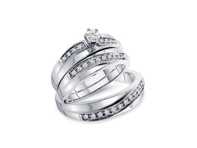Diamond Engagement Ring & Wedding Bands 14k White Gold Men Women 1/4ct