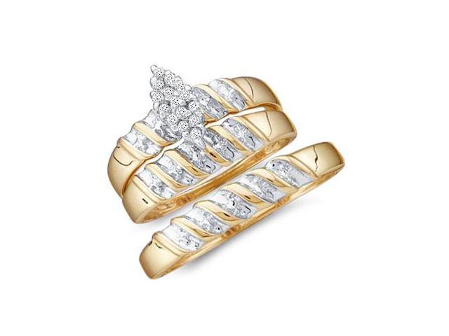 Diamond Engagement Ring & Wedding Bands Set 10k Yellow Gold (0.10 CT)