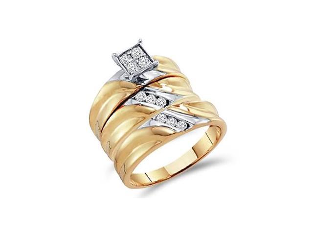 Diamond Engagement Rings Set Wedding Bands 10k Yellow Gold (0.38 CT)