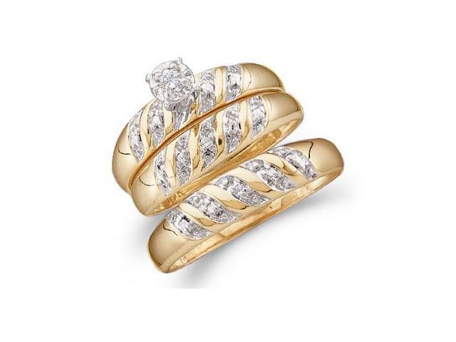 Diamond Engagement Ring & Wedding Bands Set 14k Yellow Gold (0.07 CT)