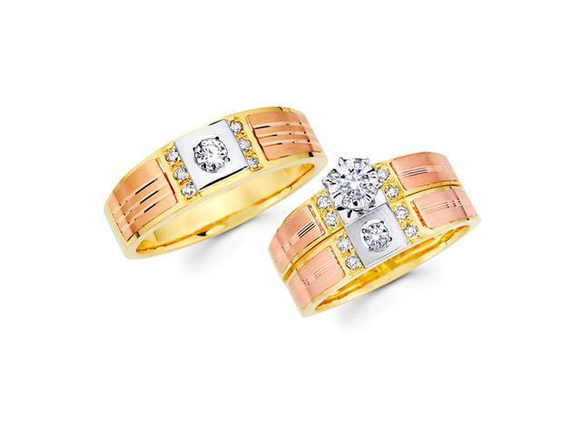Diamond Engagement Rings Set & Wedding Bands 14k Yellow Gold (0.45 CT)