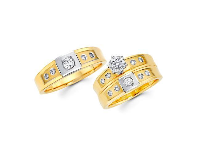 Diamond Engagement Rings Set & Wedding Bands 14k Yellow Gold (0.59 CT)