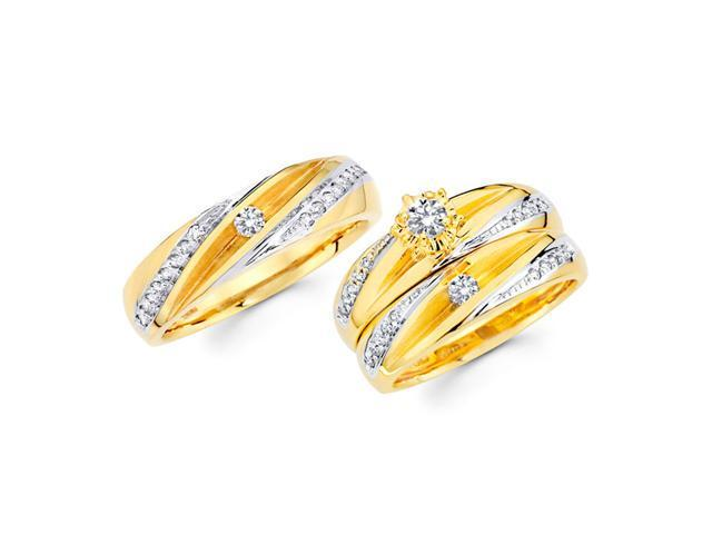 Diamond Engagement Rings Set & Wedding Bands 14k Yellow Gold (0.56 CT)