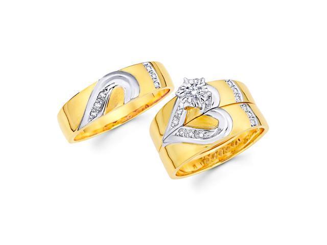 Diamond Heart Engagement Rings Wedding Bands 14k Yellow Gold (0.24 CT)