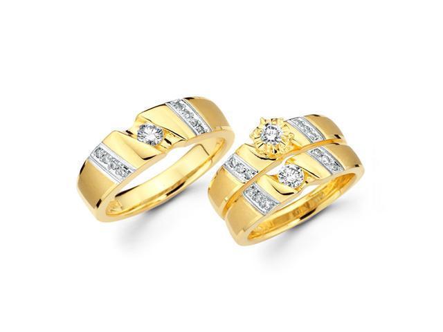 Diamond Engagement Rings Set & Wedding Bands 14k Yellow Gold (3/4 CT)