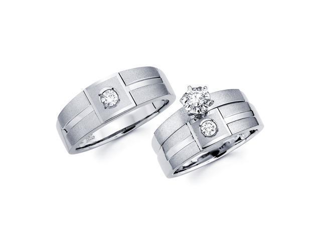 Diamond Engagement Rings Set & Wedding Bands 14k White Gold (1/3 CT)