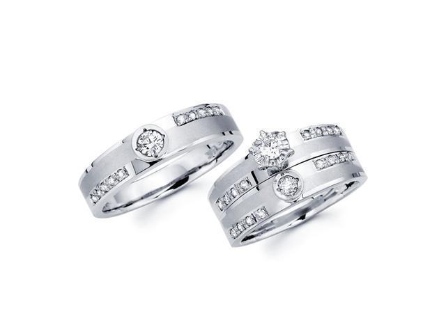 Diamond Engagement Rings Set & Wedding Bands 14k White Gold (2/3 CT)