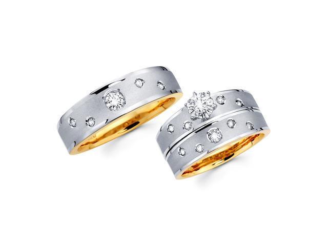 Diamond Engagement Ring & Wedding Bands 14k White Yellow Gold (1/2 CT)