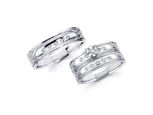 Diamond Engagement Ring & Wedding Bands Set 14k White Gold (.18 Carat)