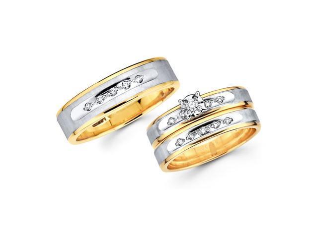 Diamond Engagement Rings Set & Wedding Bands 14k Yellow Gold (0.18 CT)