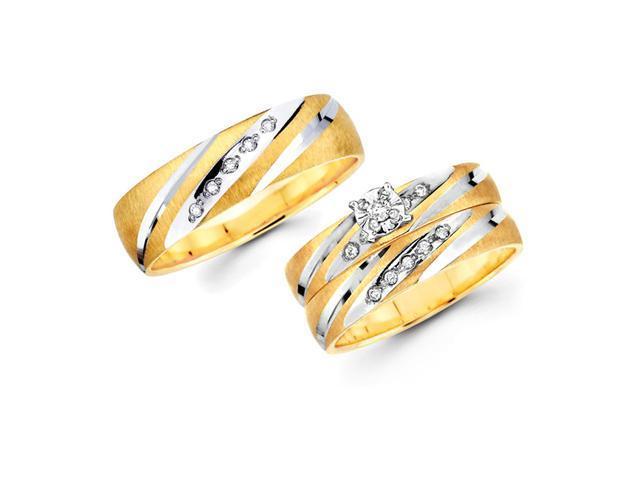 Diamond Engagement Rings Set & Wedding Bands 14k Yellow Gold (.18 CTW)
