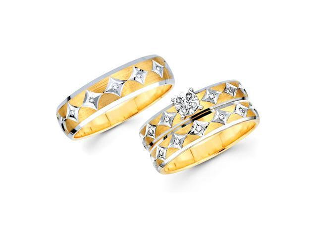 Diamond Engagement & Wedding Rings Set 14k Yellow Gold Bridal (.18 CT)