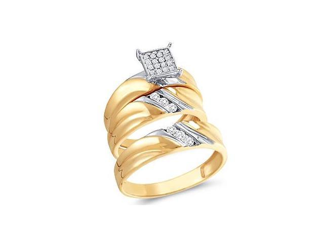Diamond Engagement Rings Set Wedding Bands 10k Yellow Gold .30ct