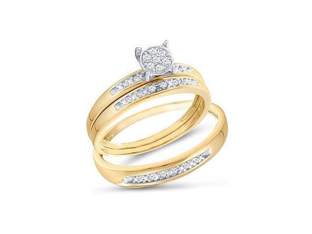 Diamond Engagement Rings Set Wedding Bands Yellow Gold Men Lady .07ct