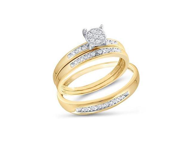 Diamond Engagement Rings Set Wedding Bands Yellow Gold Men Lady .07ct