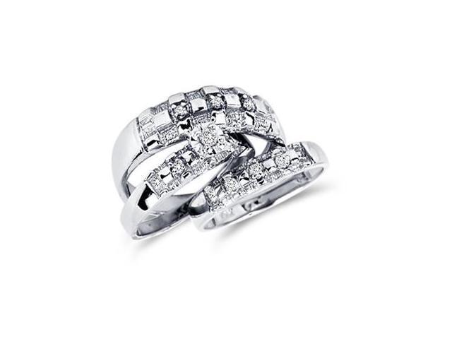 Diamond Engagement Rings Set Wedding Bands White Gold Men Ladies .10ct