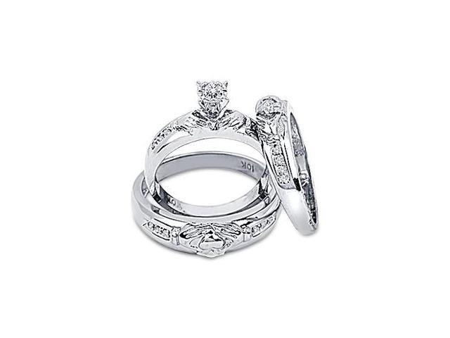 Diamond Engagement Rings Set Wedding Bands White Gold Men Ladies .08ct