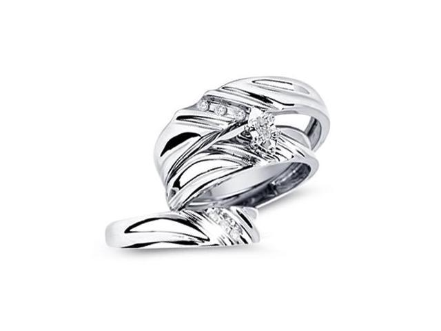 Diamond Engagement Rings Set Wedding Bands White Gold Men Ladies .17ct