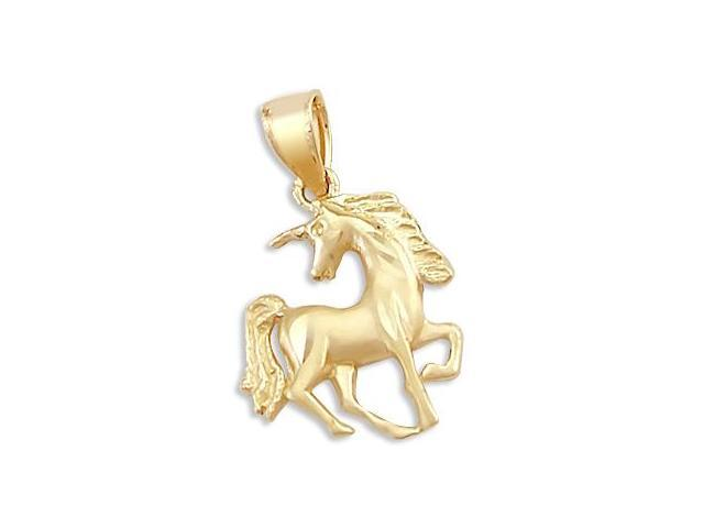 Unicorn Charm 14k Yellow Gold Horse Lucky Pendant