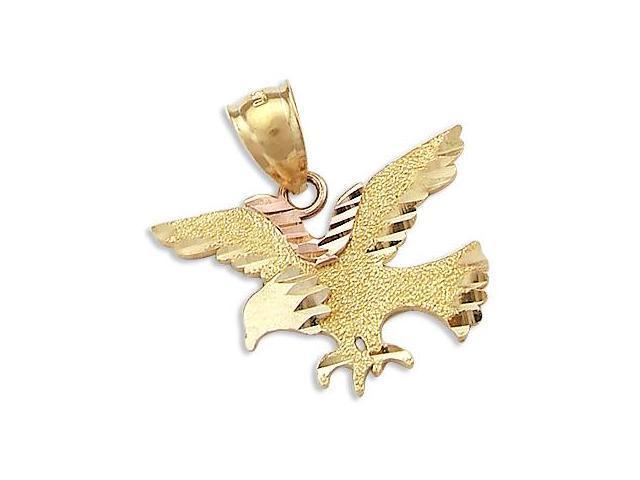 Bird Pendant 14k Yellow Rose Gold Eagle Charm