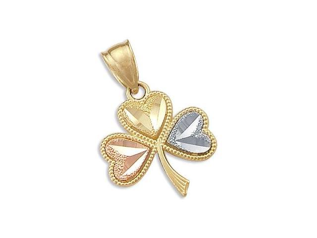 Three Leaf Clover Pendant 14k White & Rose & Yellow Gold Charm