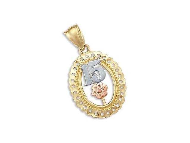 15 Birthday Charm Quinceanera Pendant Yellow Rose Gold