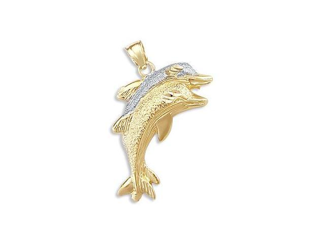 Dolphin Pendant 14k Yellow White Gold Two Tone Charm