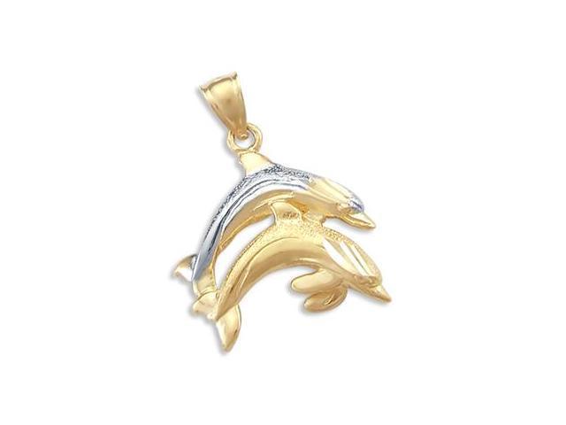 Dolphin Charm 14k Yellow White Gold Two Tone Pendant
