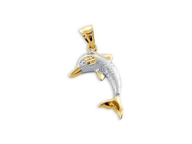 Dolphin Pendant 14k Yellow White Gold Animal Charm