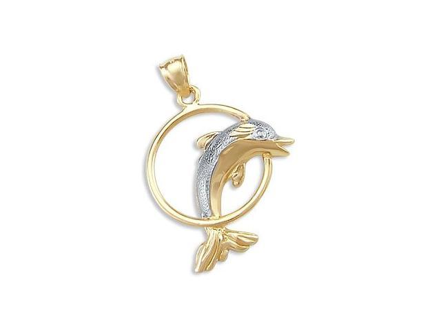 Dolphin Pendant 14k White Yellow Gold Jump Hoop Charm