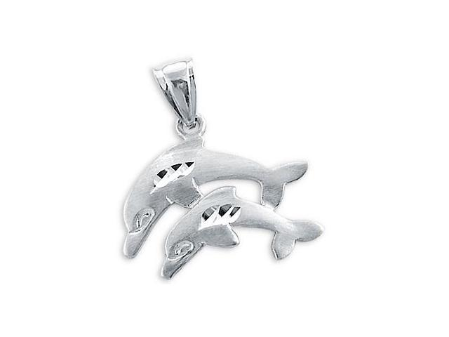Dolphin Charm 14k White Gold Animal Pendant