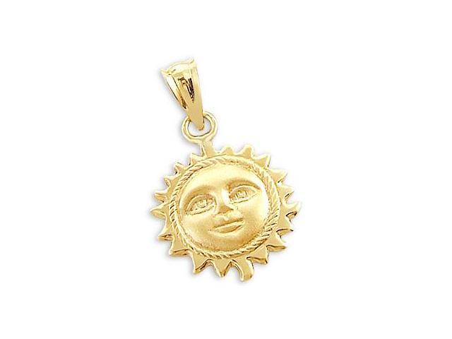 Sun Face Pendant 14k Yellow Gold Charm 3D 3/4 inch