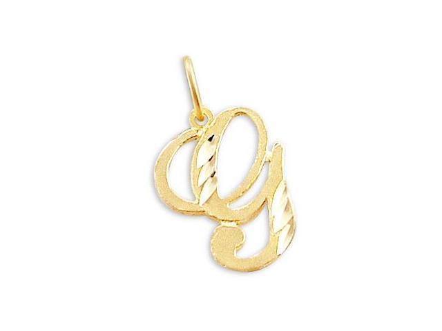 Cursive G Letter Charm 14k Yellow Gold Initial Pendant